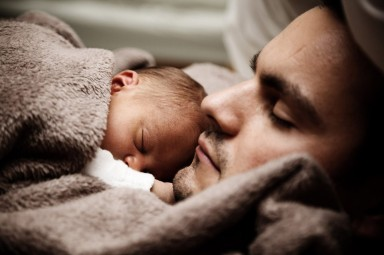 FREE FRAMED IMAGE OF BABY AND DADDY SLEEPING WEEK 6